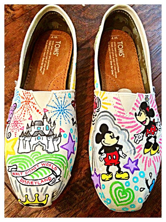 Disney pattern custom TOMS by Simply4TheHeArt on Etsy (: