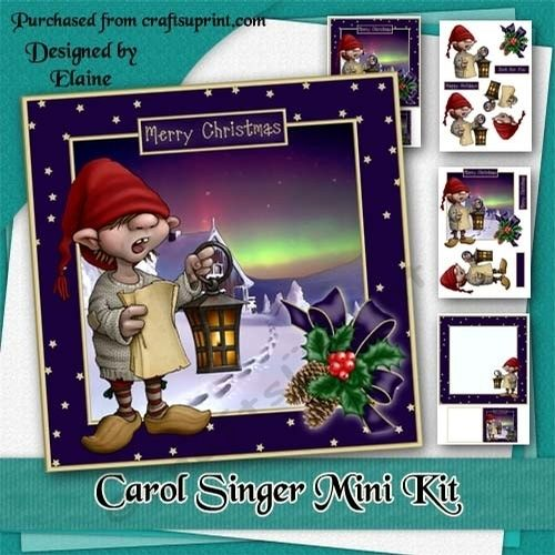 Carol Singer Mini Kit by Elaine Hayhoe An 8x8 card kit with a card front topper decoupage insert and matching gift cards. There are sentiments of Merry Christmas Happy Holidays Just for You and blank for your own message.