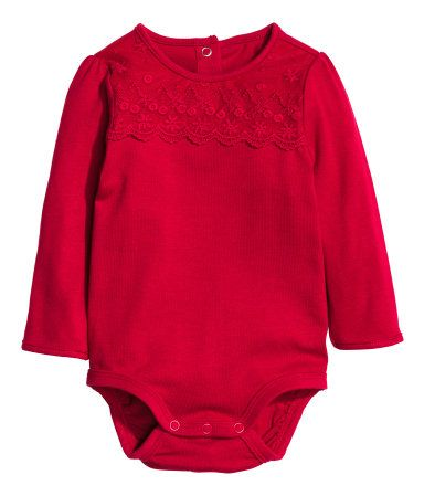 Long-sleeved Bodysuit | Red | Kids | H&M US