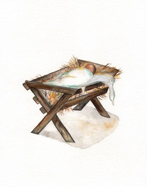 Away in a Manger / Nativity / Brown / Baby Jesus by kellybermudez, $20.00