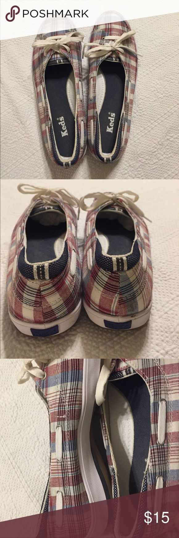 Keds Slip-ons Plaid Arch Support Red, white and blue plaid, cute slip-ons with arch support and gel-flex. Only worn a couple of times. Size 8.5. Keds Shoes Sneakers