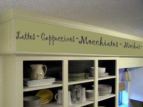 Coffee Kitchen Words Border Vinyl Wall Decor  Cafe  Vinyl Wall Decal Kitchen  Decor