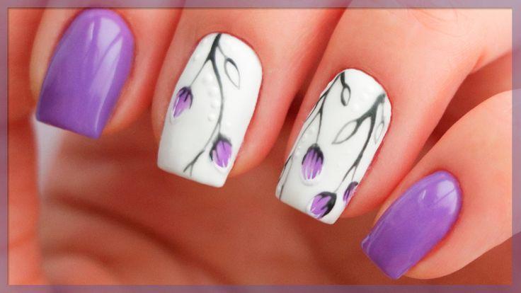 Весенний маникюр 2017 | Дизайн ногтей с веточками и бутонами | Сиреневые...