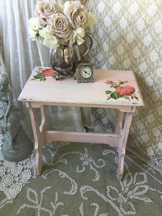 This lovely vintage shabby pink table would make the perfect small coffee table, end table, nightstand, bedside table, side table in your Shabby Cottage chic style home! Not only is this table beautiful but completely functional as well, very sturdy and durable! Makes the perfect
