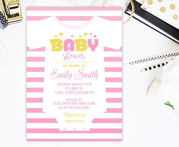 Pink and Gold Onesie Baby shower Invitation by CutePaperStudio