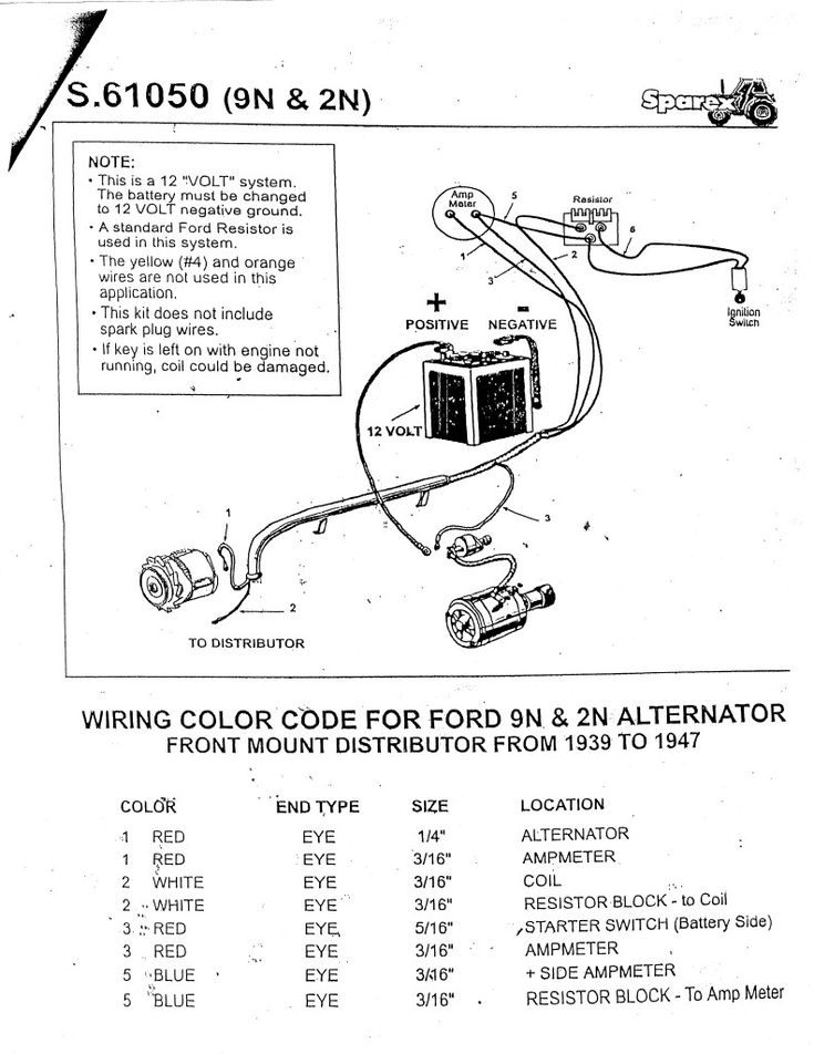 FORD 9N 2N 8N 12 VOLT ALTERNATOR WIRING HARNESS | Ford, Alternator, 8n ford  tractorPinterest