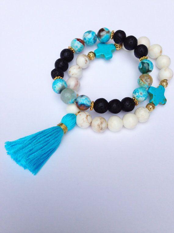 Boho Bracelet, Stretch Bracelet with Sea Agates, Black Lava Beads and Gold Spacers
