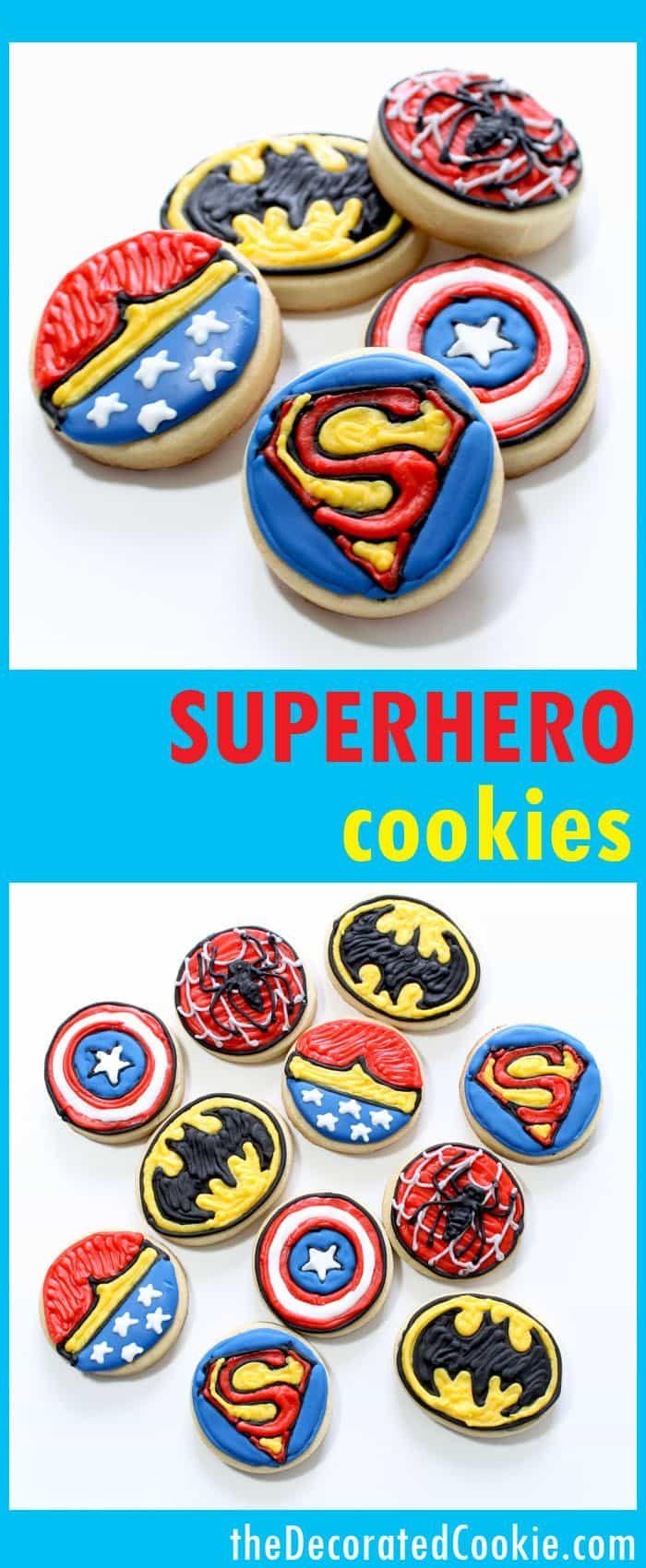 superhero cookies -- fun decorated cookies for a superhero party -- Wonder Woman, Spider-Man, Bat-Man, Captain America