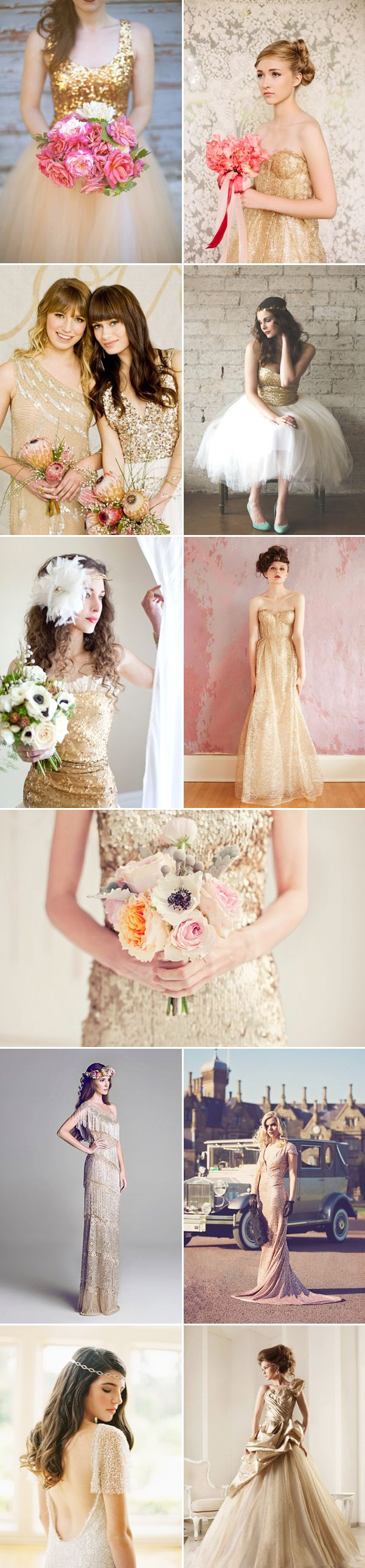 27 Beautiful Colored Wedding Dresses - gorgeous gold I love the bottom left one and the one second from the bottom on the right.