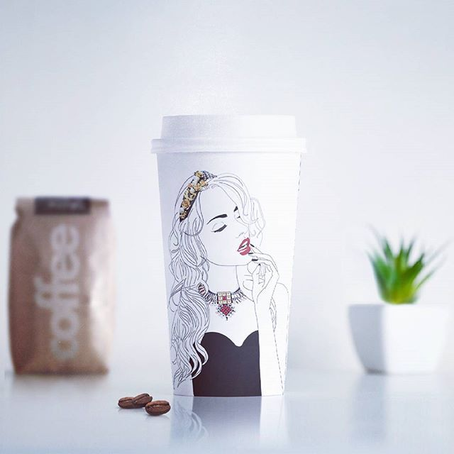• Coffee for fashion designer •  #coffee #fashionillustration #cosminadavid #romaniandesign #fashion #design #sketch #visualart #packing #packingdesign #drawing #girl #black #white