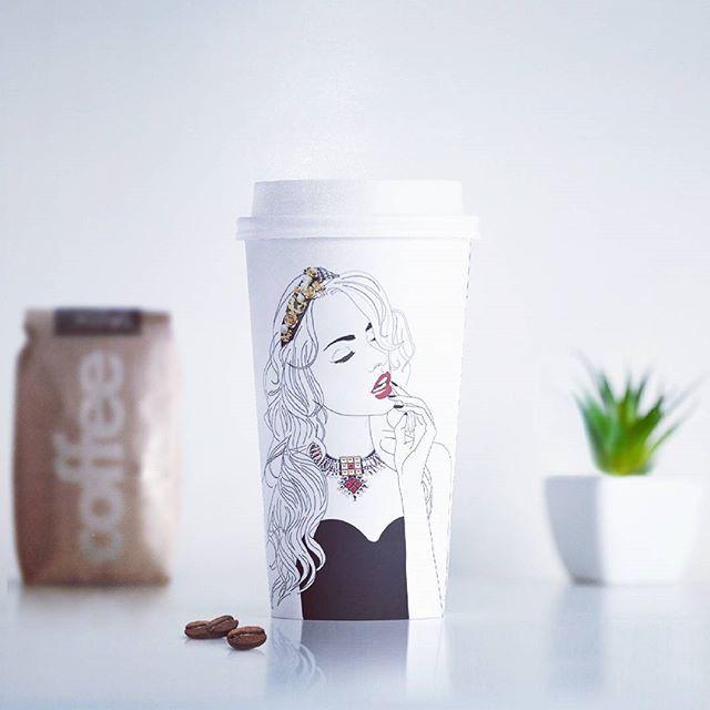 • Coffee for fashion designer •  #coffee #fashionillustration #cosminadavid #romaniandesign #fashion #design #sketch #visualart #packing #packingdesign #drawing #girl #black #white