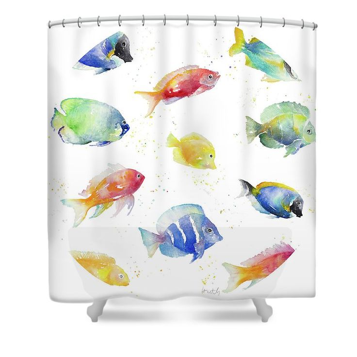 535 best bathroom remodel images on pinterest bath for Tropical fish shower curtain