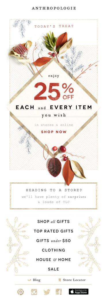 Anthropologie Email Marketing Design