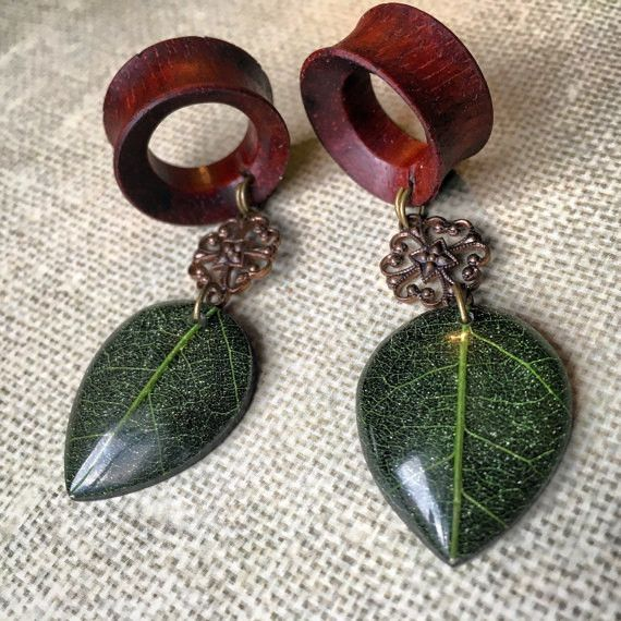 Organic Sparkling Bohemian Leaf Dangle Plug Gauges or Tunnels for Stretched Ears/ Sizes 0g(8mm) through 30mm