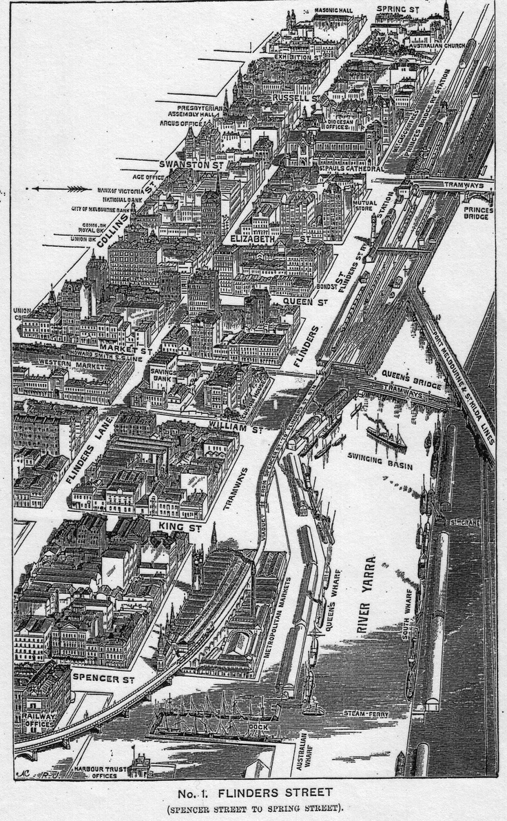 Birds eye map view of Melbourne circa 1900 including the Yarra River, Western Markets and Metropolitan Markets (which no longer exist).