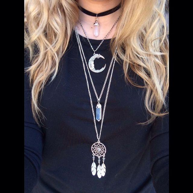Handmade Necklaces Layered: Quartz choker, Crescent Moon, Quartz Necklace, Dream Catcher Necklace