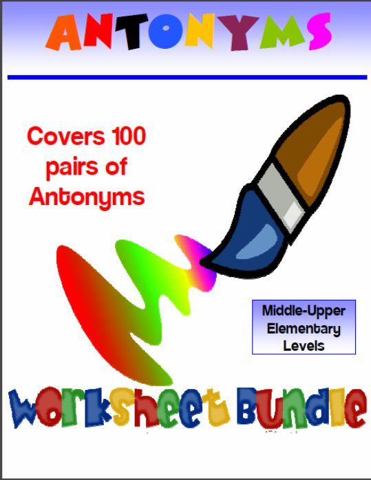 Homeschool Freebies: 98 Antonyms Worksheets Activities and Puzzles Bundle (200 pages!)