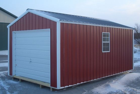 Red painted portable metal garage