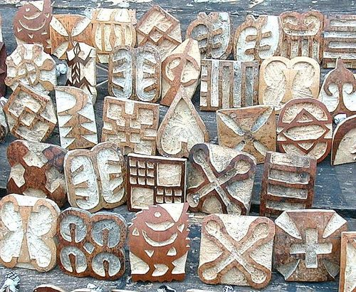 Africa | Hand carved stamps (made from Calabash gourds) for printing Adinkra Cloth ~ Ghana