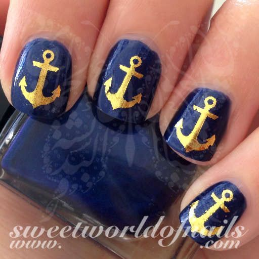 Summer Nail Art Gold Anchor Nail Water Decals Water Slides