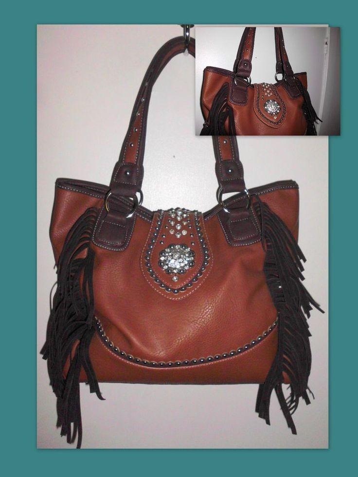 TEXAS LEATHER Concealed Carry Fringed Western Brown Handbag Rhinestones #TexasLeatherManufacturing #ShoulderBag