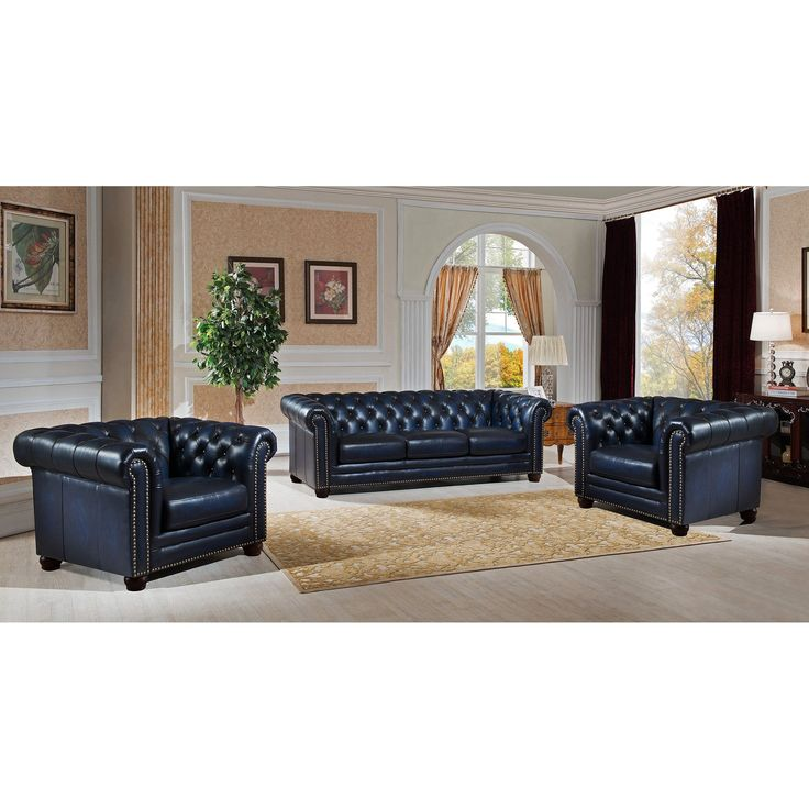 Amax Nebraska Genuine Hand Rubbed Blue Leather Chesterfield Sofa and Two Chair Set (Nebrasaka-SCC)