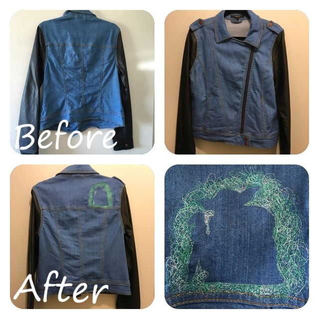 Refashioned jacket, added embroidery to a cool jacket for a cooler vibe and updated look.  @trixiescraftco