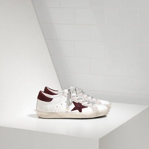 Golden Goose Soldes - Chaussure Golden Goose Super Star In Blanche Leather With Maroon Suede Star Femme Pas Cher