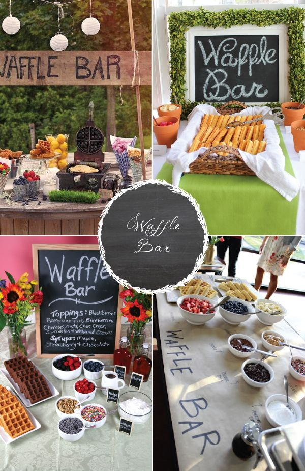 8 food stations your guests are sure to love! Waffle bar, yum!