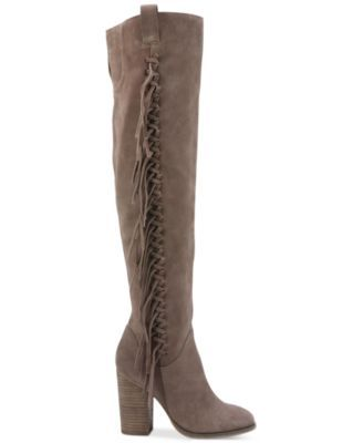 Carlos by Carlos Santana Garrett Knee-High Fringe Boots $199.00 Turn heads in a look that's a little bit country and a whole lot stylish with bold fringe and a striking silhouette in Carlos by Carlos Santana's Garrett boots.