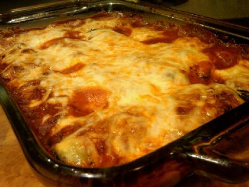 Eggplant manicotti...south beach phase 1 friendly! I used part-skim cheeses (I don't like the fat-free stuff). Highly recommend this recipe. Great for Diabetics, Vegetarians, those on Gluten Free diets or those with no restrictions at all. :)