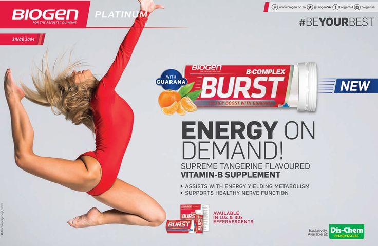 BIOGEN Platinum Energy on Demand!  Supreme tangerine flavoured Vitamin-B supplement.  #BEYOURBEST #BiogenSA www.biogen.co.za
