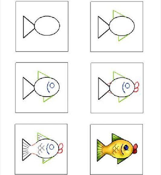 stappenplan vis tekenen - Google zoeken