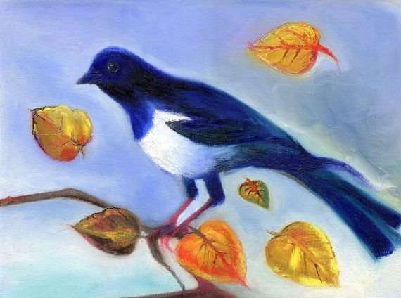 Autumn Magpie Painting by PillowsAway on Etsy