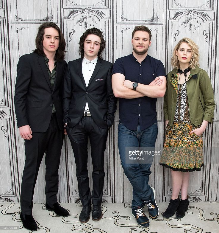 Actors Ferdia Walsh-Peelo, Mark McKenna, Jack Reynor, and Lucy Boynton attend the AOL Build Speaker Series to discuss 'Sing Street' at AOL Studios In New York on April 12, 2016 in New York City.