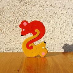 Puzzle en bois lettre s souris décoratif et ludique