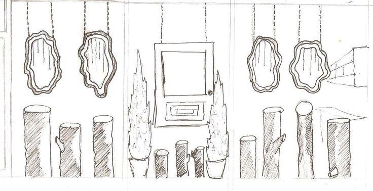 dibujo vitrinas tienda