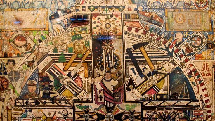 """Bedeutendes Werk der so genannten """"Outsider""""-Kunst: Eine Wand in der Klingebiel-Zelle im """"Festen Haus"""" für psychisch kranke Straftäter in Göttingen. Foto:Niemann/pid"""