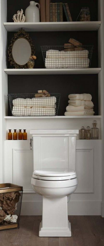 Bathroom Storage Over Toilet Ideas. Big fan of the dark color on the back of the light cabinets