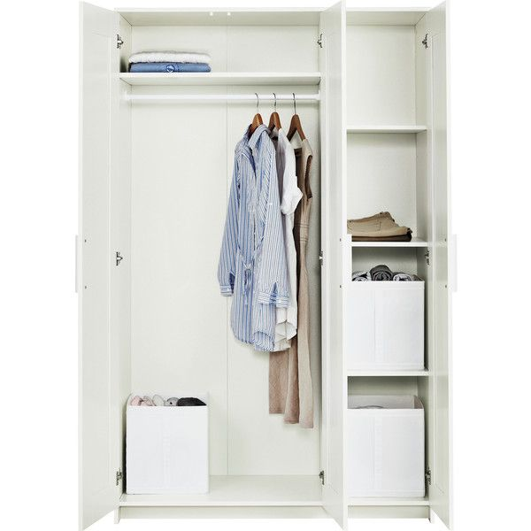 IKEA BRIMNES Wardrobe With 3 Doors White 255 CAD Liked On Polyvore