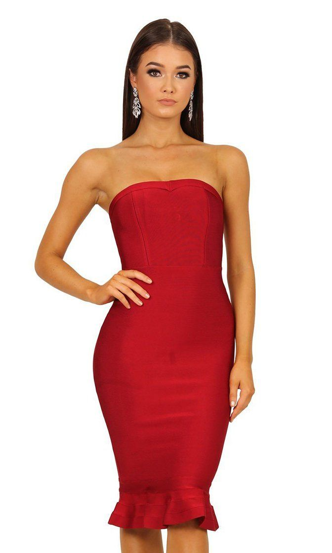 3dd242a5 My Mind On Your Body Bandage Strapless Fishtail Ruffle Zip Back Bandage  Bodycon Midi Dress - 4 Colors Available