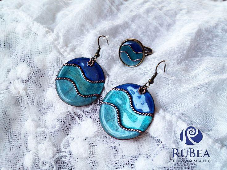 Blue Waves Enamel Errings and Ring Set