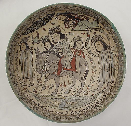 Bowl Dated A.H. 583/ A.D. 1187 Geography: Iran Medium: Stonepaste; polychrome in-glaze and overglaze painted on an opaque monochrome glaze (mina'i)