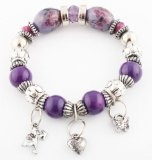 Ladies Silver Various Dangling Charms with Purple Flowered Balls Stretch Bracelet