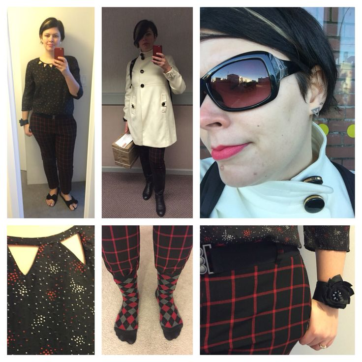 Dec. 29, 2015: I felt like mixing prints, although these particular items don't wear well together (shirt is short and pants are low, not a good combo when you have a long torso like me). Wore triangle earrings to match the triangles in the neckline. I will be replacing the buttons on this jacket once I find new sleeve buckles, less options for buckles so I have to find them first to match the buttons to. This is my last OOTD from 2015!