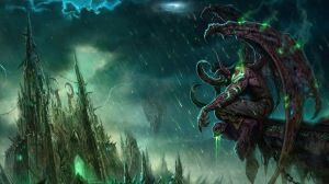 Preview wallpaper wow, illidan, world of warcraft, castle, monster, bad weather 1920x1080