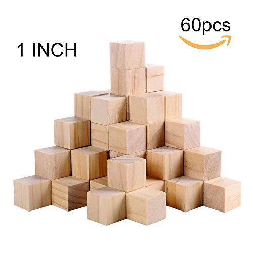 Supla 60pcs 1 inch Natural Unfinished Craft Solid Wood Bl...