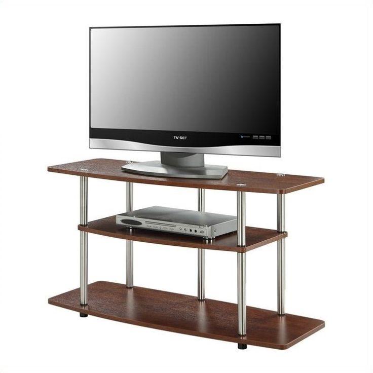 3 Tier Wood TV Stand Wide Storage Media Shelves Dorm Bedroom For TVs Cherry Part 90