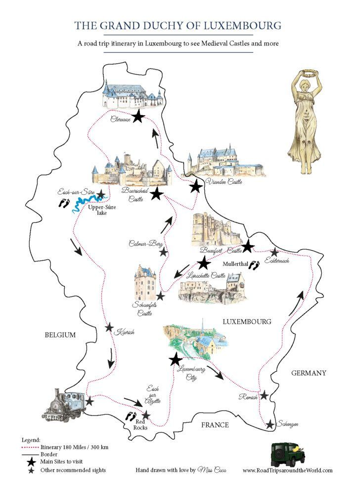 Road Trip in Luxembourg - Free map designed by Miss Coco for www.RoadTripsaroundtheWorld.com