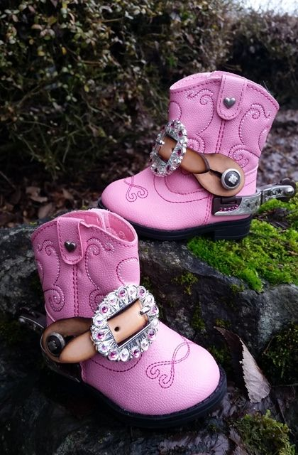 Jozee Girl Designs Crystal Tack, Crystal Stirrups and More... - Infant Cowgirl Boots with Crystal Spurs and Straps ~ The perfect Baby Shower Gift!